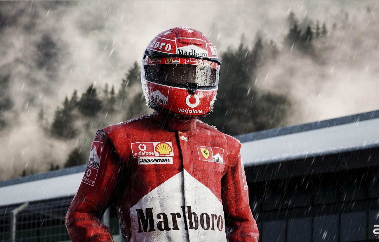 Фото обои Дождь, Шлем, Формула 1, Шумахер, Michael Schumacher, Михаэль Шумахер, Рендеринг, Schumacher, Ливень, Zoki Nanco, by …