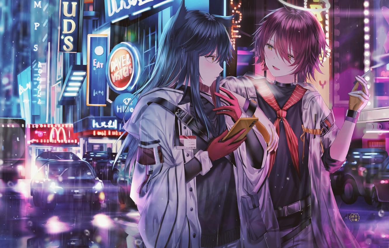 Фото обои девушка, город, дождь, парень, двое, знакомство