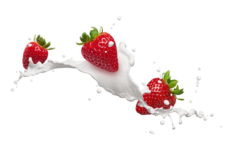 Обои клубника, молоко, брызги. Еда foto 8