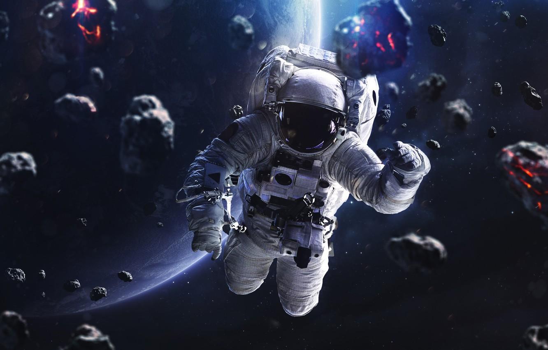 Фото обои Звезды, Скафандр, Человек, Планета, Космос, Астронавт, Костюм, Космонавт, Арт, Stars, Space, Art, Planet, Universe, Galaxy, ...
