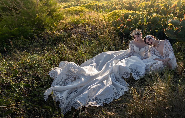 Фото обои трава, поза, стиль, настроение, кактусы, две девушки, модели, свадебное платье