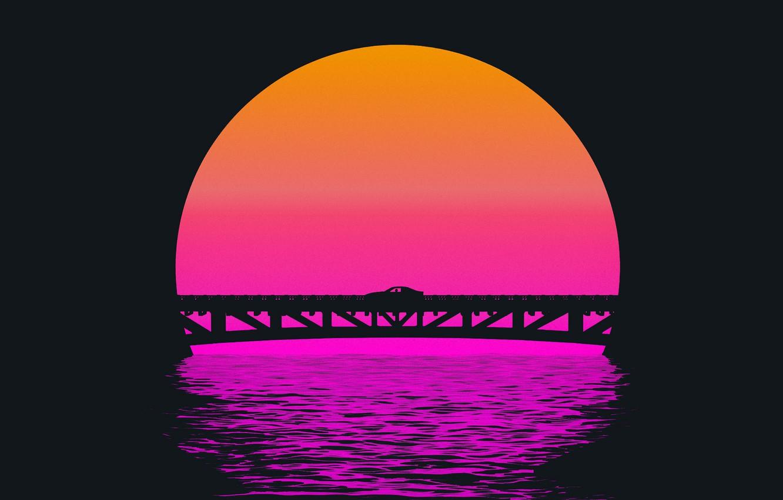 Фото обои Закат, Солнце, Мост, Музыка, Силуэт, Фон, 80s, Neon, 80's, Synth, Retrowave, Synthwave, New Retro Wave, ...