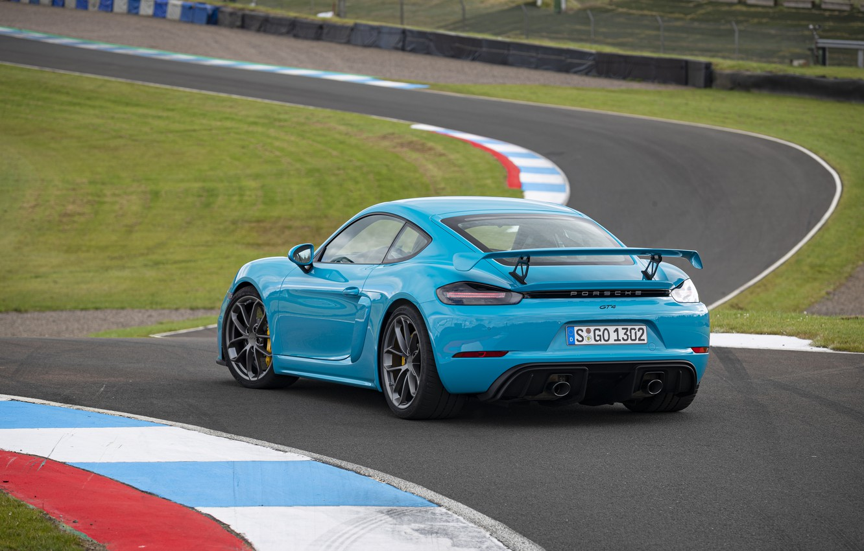 Фото обои Porsche, Cayman, Трасса, GT4, Антикрыло, 2019, Porsche 718 (982) Cayman GT4