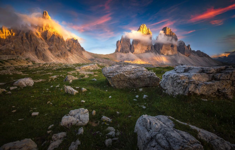 Фото обои облака, пейзаж, закат, горы, природа, камни, Италия, Доломиты