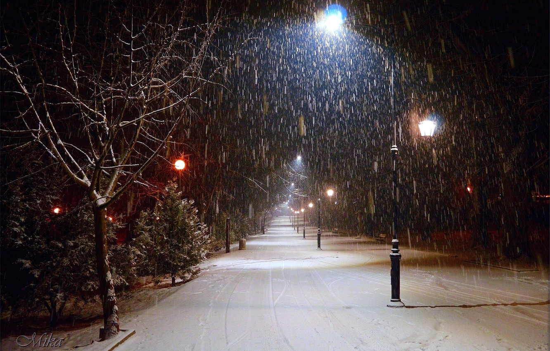 Фото обои Зима, Ночь, Снег, Фонари, Мороз, Winter, Frost, Night, Snow