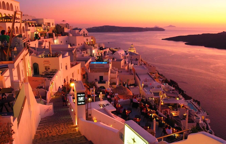 Фото обои море, пейзаж, закат, город, дома, Санторини, Греция