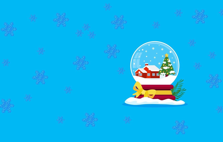 Фото обои настроение, новый год, минимализм, вектор, арт, снежный шар
