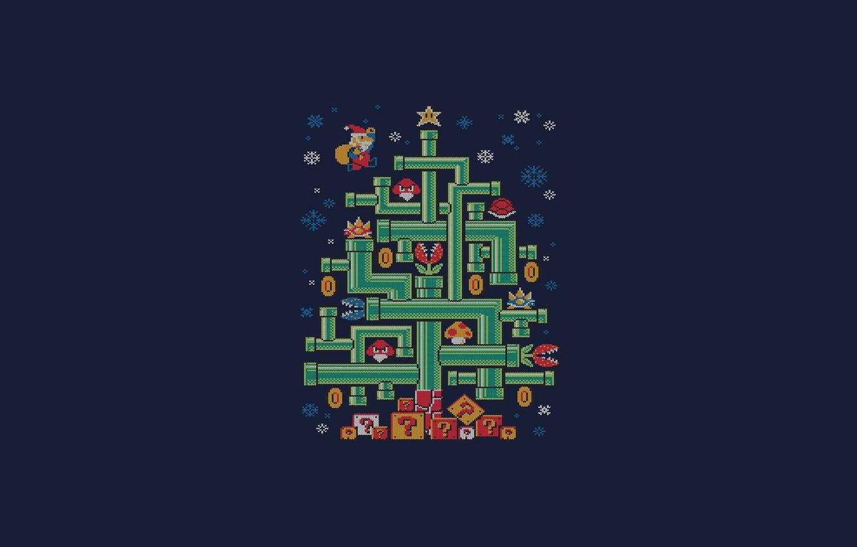 Фото обои Минимализм, Марио, Новый год, Елка, Арт, Ёлка, Tree, New Year, Super Mario, Трубы, Djkopet, By ...