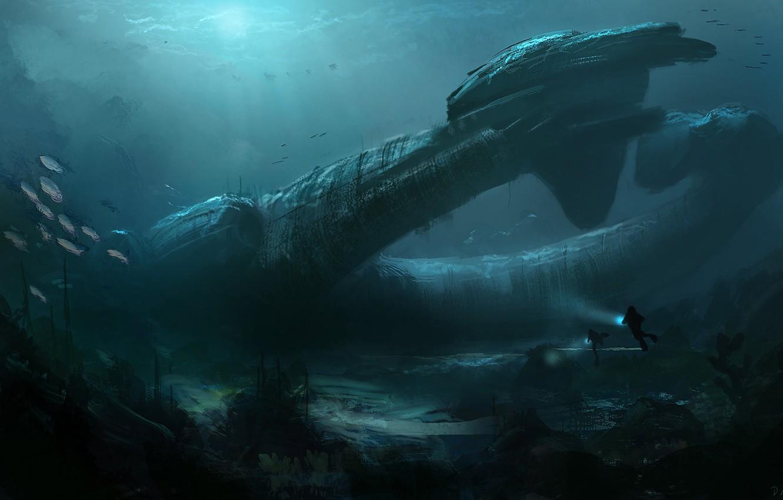 Фото обои Океан, Рыбы, Море, Глубина, Дно, Fish, Art, Космический Корабль, Alien, spaceship, Illustration, Prometheus, Juggernaut Ship, …