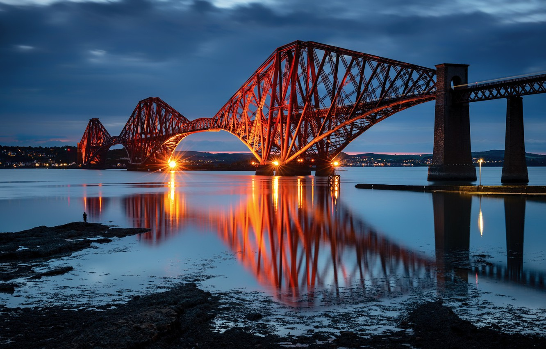 Фото обои bridge, Scotland, reflection, Blue Hour, South Queensferry