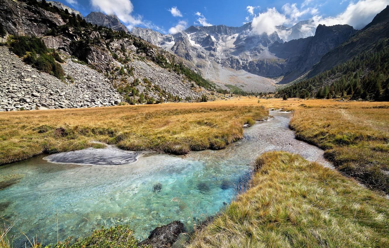 Фото обои горы, долина, речка