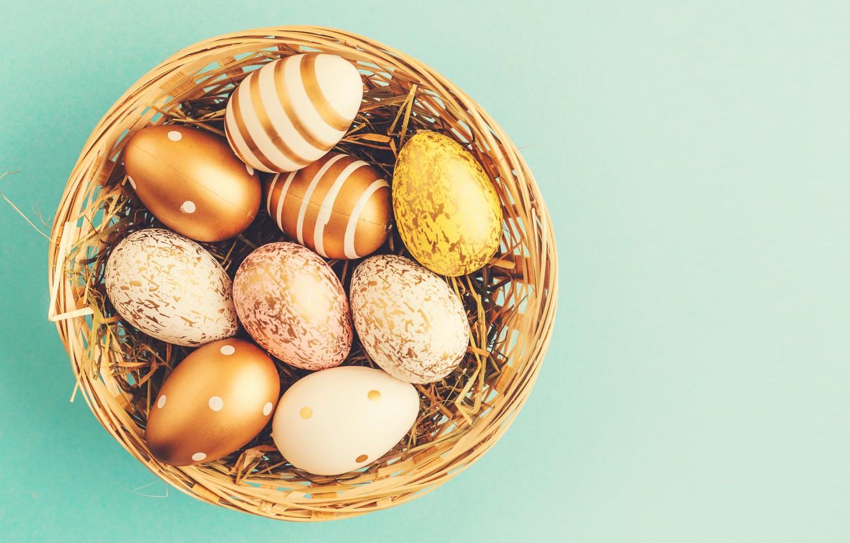 Фото обои фон, яйца, Пасха, happy, корзинка, eggs, easter, decoration, basket