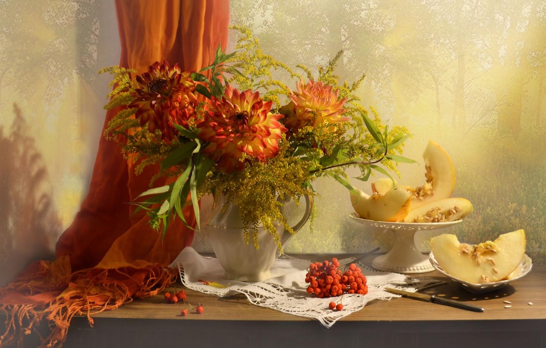 Обои нож, натюрморт, стол, кувшин, цветы, арбуз. Разное foto 15