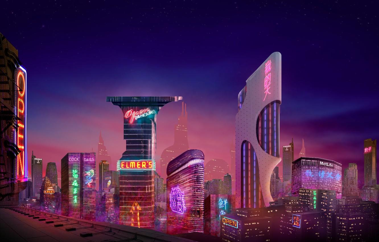 Фото обои City, Neon, Concept Art, Architecture, Environments, by Fábio Costa, Fabio Costa, Fábio Costa, by Fabio …