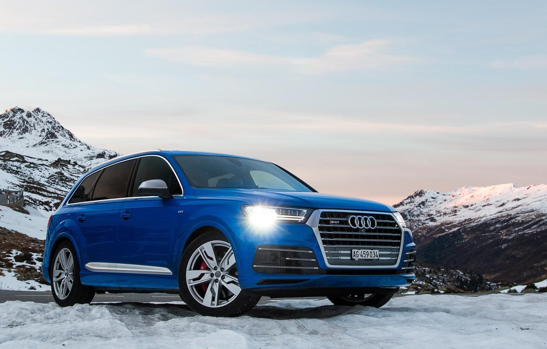 Фото обои Audi, Blue, Snow, SQ7