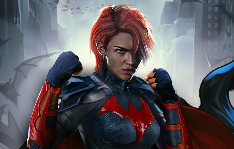 Фото обои взгляд, поза, арт, костюм, сериал, art, стойка, hair, look, pose, costume, Batwoman, Бэтвумен, Ruby Rose, …