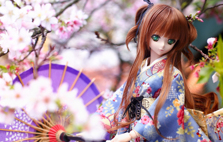 Обои японка, зонтик, Кукла. Разное foto 9