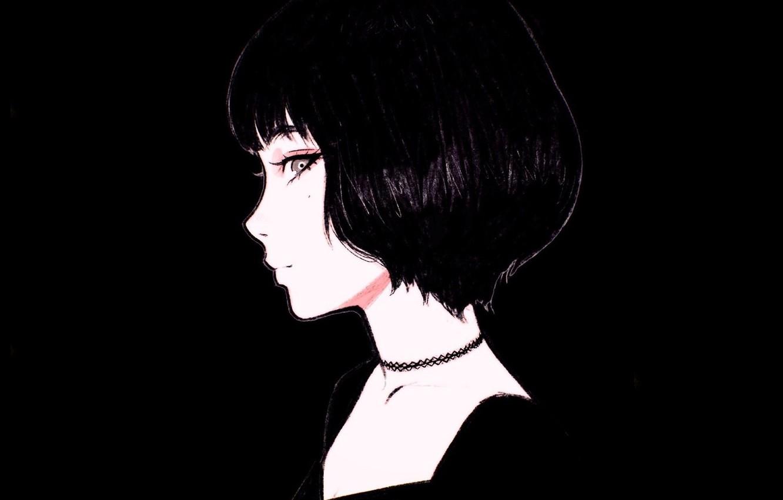 Фото обои лицо, стрижка, черно-белая, родинка, в профиль, чёлка, портрет девушки, Илья Кувшинов, чокер, шея плечи