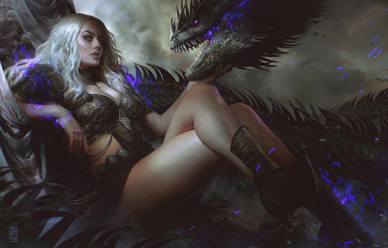 Фото обои взгляд, девушка, поза, магия, дракон, фэнтези, арт