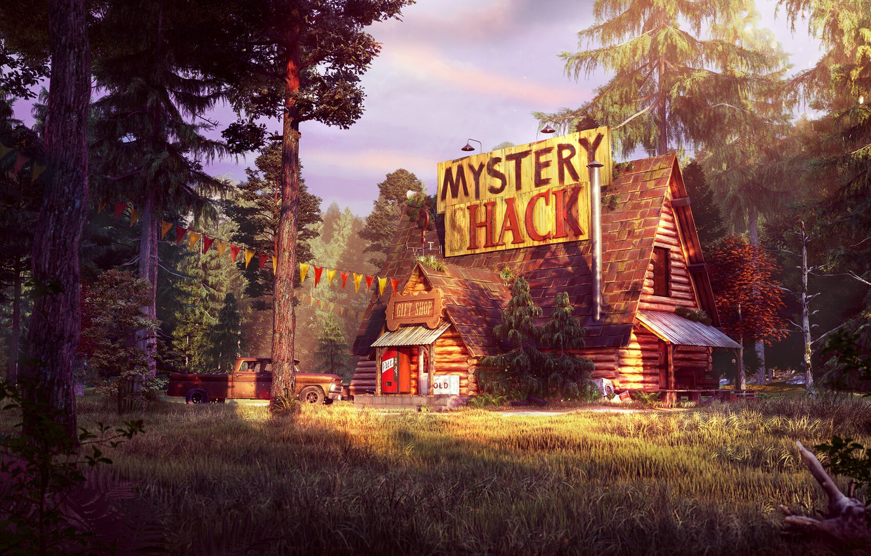 Фото обои лес, пикап, Gravity Falls, Гравити Фолз, хижина тайн