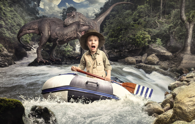 Фото обои река, испуг, мальчик, динозавры, ужас, весло, резиновая лодка, Михаил Новиков