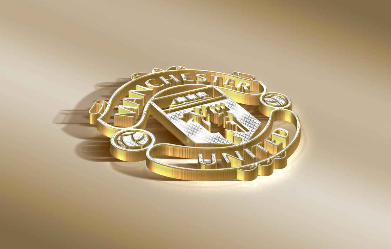 Фото обои Logo, Golden, Football, Manchester United, Soccer, Silver, Emblem, English Club