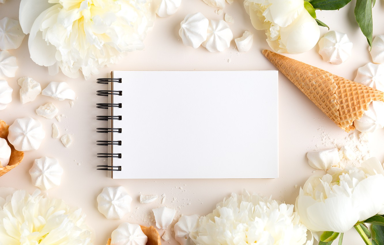 Фото обои цветы, мороженое, white, белые, рожок, flowers, beautiful, пионы, зефир, peonies