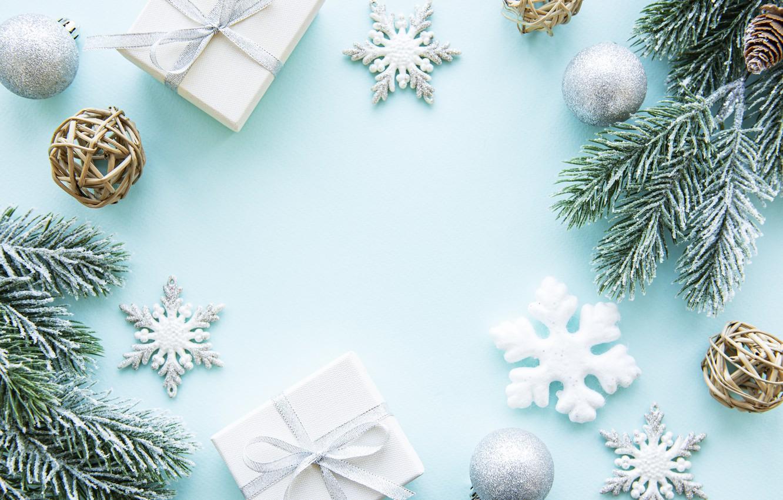 Фото обои снег, украшения, снежинки, Рождество, Новый год, new year, Christmas, wood, winter, snow, decoration, fir tree, …