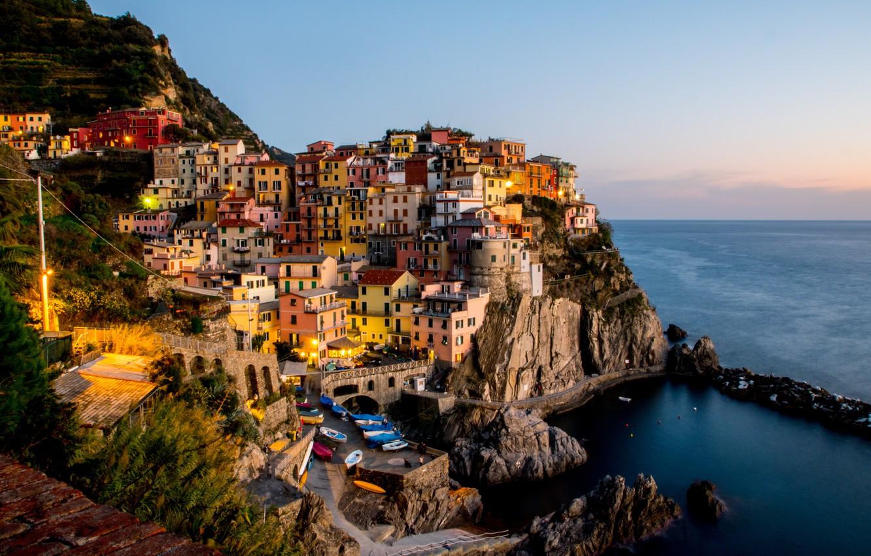 Фото обои море, закат, city, побережье, дома, лодки, Италия, залив, sea, landscape, Italy, coast, sunset, panorama, beautiful, …