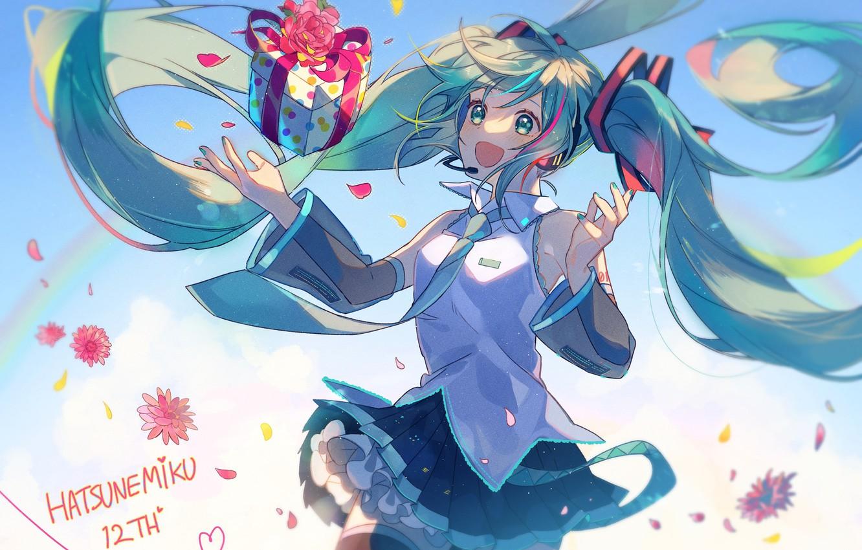 Фото обои коробка, подарок, Hatsune Miku, Vocaloid, Вокалоид, голубые волосы, Хатсуне Мику
