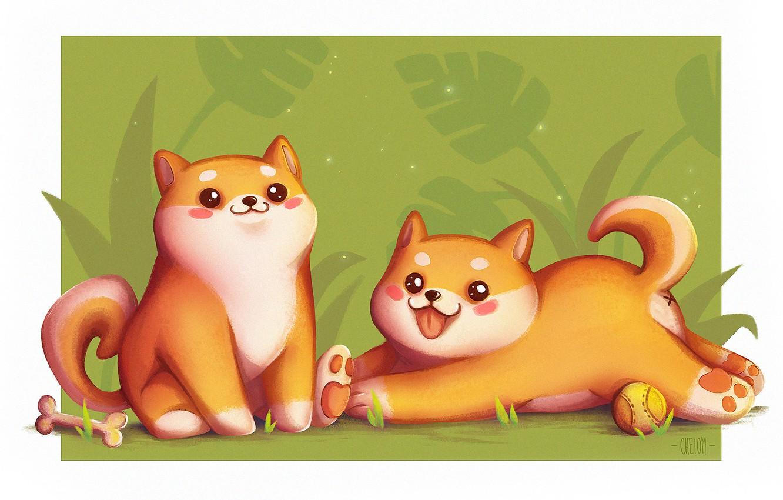 Фото обои игра, собака, аниме, арт, косточка, детская, Shiba Inu, Flor De Jager