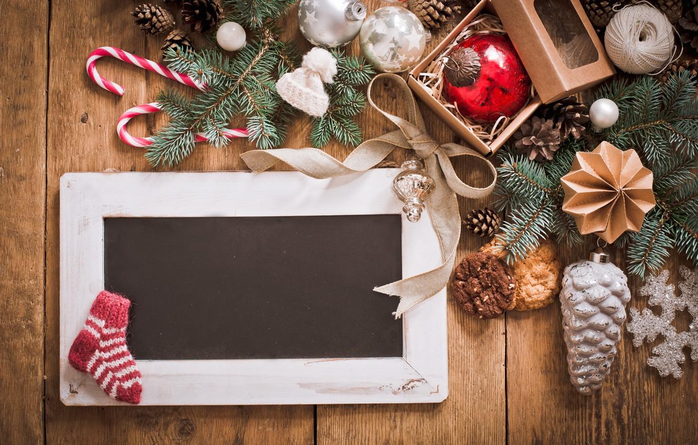 Фото обои украшения, шары, Рождество, Новый год, new year, Christmas, balls, wood, decoration, fir tree, ветки ели