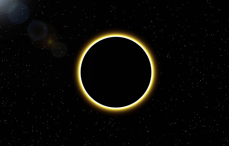 Фото обои солнце, космос, звезды, затмение, диск