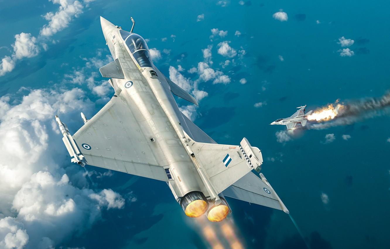 Фото обои четвёртого поколения, Dassault Rafale, ВВС Франции, французский многоцелевой истребитель, Antonis (rOEN911) Karidis