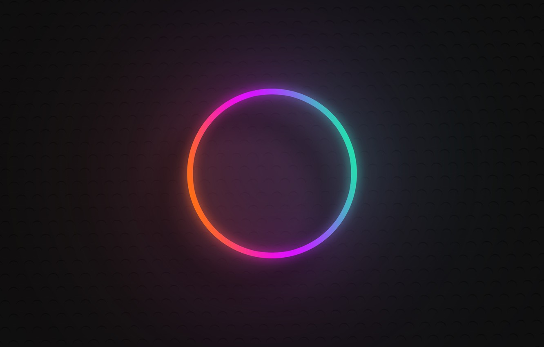 Фото обои круг, градиент, неон, вывеска, неоновый градиент, неоновый круг, радужный неоновый круг