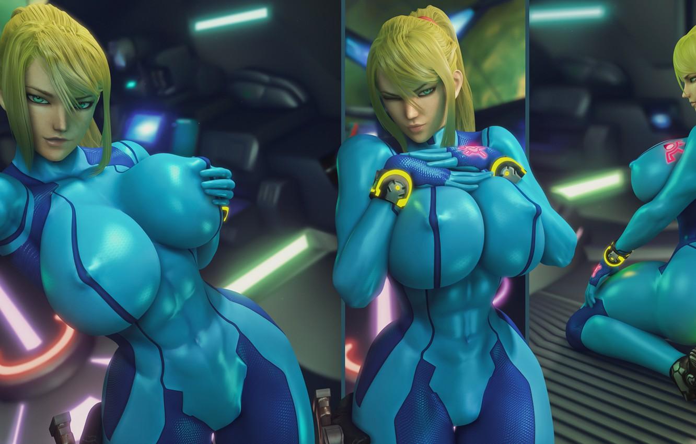 Фото обои попа, грудь, девушка, красота, сиськи, блондинка, костюм, задница, nintendo, samus aran, metroid, Zero Suit