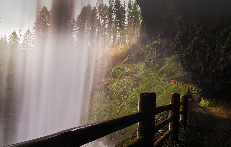 Фото обои USA, trees, Oregon, nature, water, rocks, fence, waterfall, path, moss, Monsoon, United States of America, …