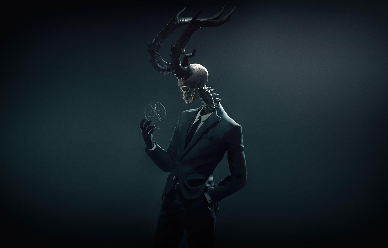 Фото обои Минимализм, Существо, Череп, Костюм, Демон, Fantasy, Рога, Страх, Devil, Ужас, Design, Skull, Ужасы, Скелет, Horror, …