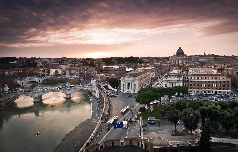 Фото обои река, Рим, Италия, панорама, Тибр