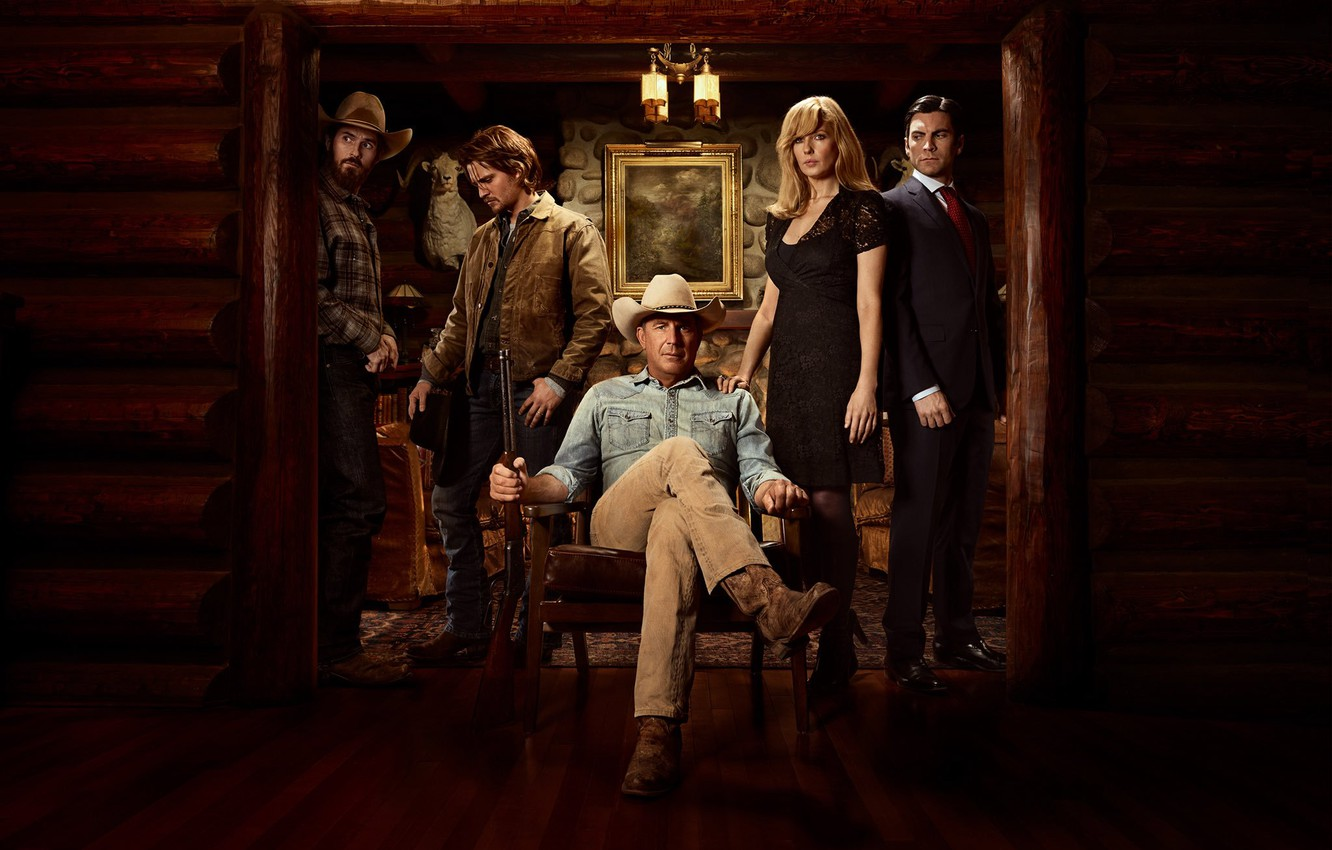 Фото обои сериал, постер, Уэс Бентли, кевин костнер, luke grimes, kelly reilly, йеллоустоун сериал, yellowstone, Келли Райлли, …