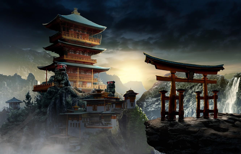 Фото обои Горы, Дворец, Китай, Азия, Здание, Пейзаж, Арка, Архитектура, Art, Concept Art, Mysterious Temple, by JohnPaul ...