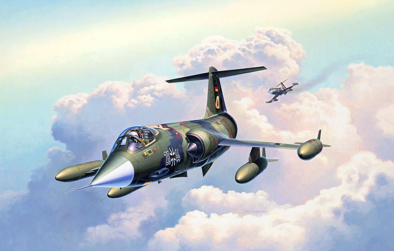 Обои Lockheed, истребитель-перехватчик, рисунок, starfighter, F-104. Авиация foto 8