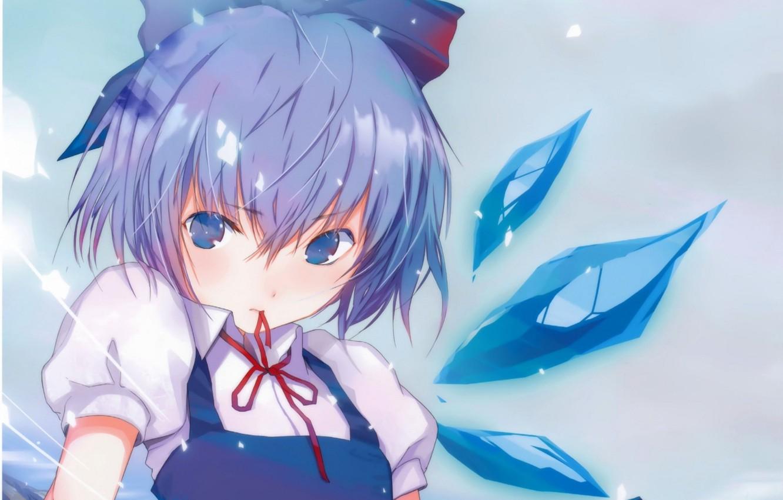 Фото обои кристаллы, голубые волосы, Cirno, красная ленточка, haruaki fuyuno, проект Восток, ледяная фея, touhou project