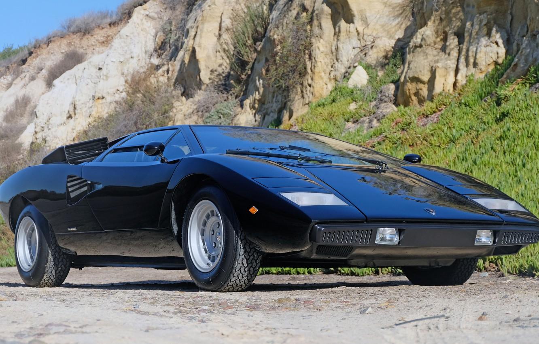 Фото обои чёрный, Lamborghini, вентиляция, суперкар, V12, Countach, 1975, воздухозаборники, среднемоторный, LP400, 4 л., Periscopio