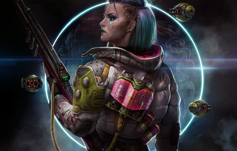 Фото обои девушка, оружие, фантастика, тату, профиль, art, cyberpunk, Sci-Fi