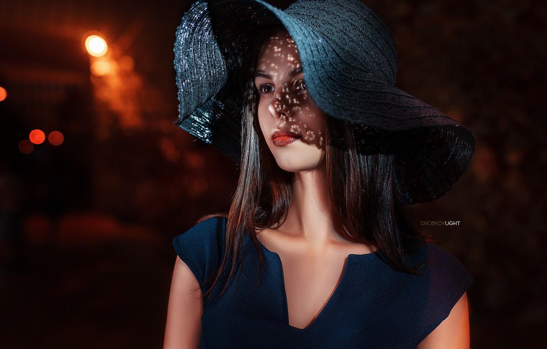 Фото обои портрет, Девушка, шляпа, платье, плечи, Alexander Drobkov-Light, Татьяна Светлова