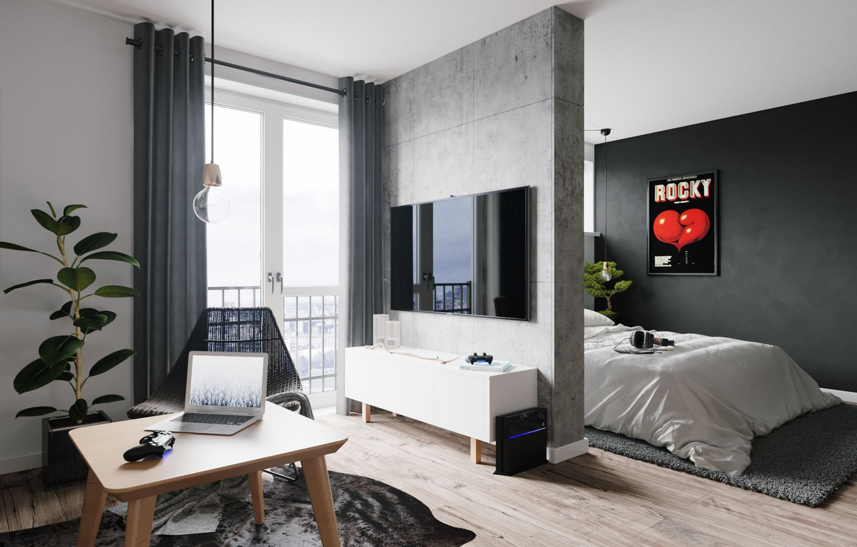 Фото обои стол, ковер, кровать, кресло, телевизор, ноутбук, квартира, playstation, плАкат