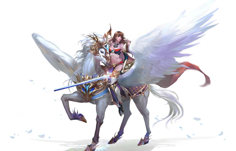 Фото обои конь, игра, крылья, воин, арт, перс, MMORPG, ездовой, Free Game, Browser Game