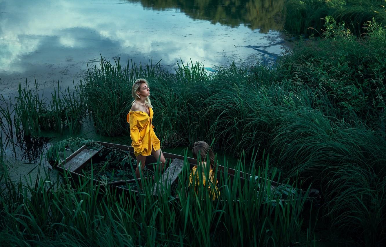 Фото обои две девушки, в лодке, Максим Густарёв, Максим Густарев