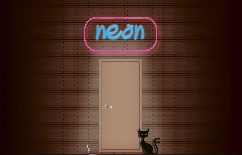 Фото обои кот, стена, дым, неон, сигарета, вывеска, черный кот, кирпичная стена, неоновая вывеска, кирпичная кладка, Neon …